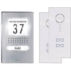 Domový telefón káblový kompletná sada, me modern-electronics ADV 112 WW 1 rodina, ušľachtilá oceľ, biela