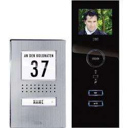Káblový domové videotelefón m-e modern-electronics kompletný set, nerezová oceľ, čierna